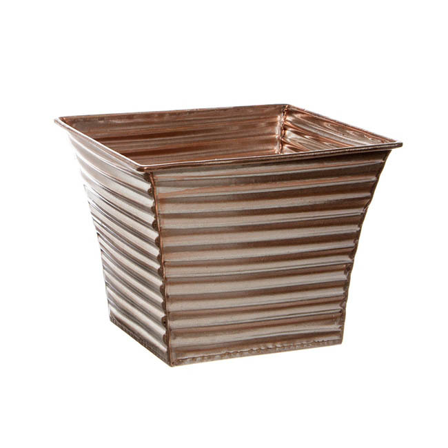 Rustic Tin Metal Planters Rose Gold (15.5x15.5x12.5cmH)