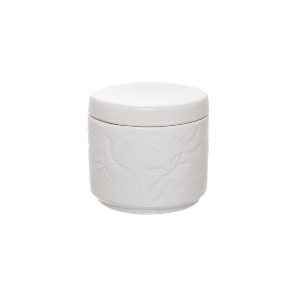 Ceramic Floral Jar with Lid White (17Dx16cmH)
