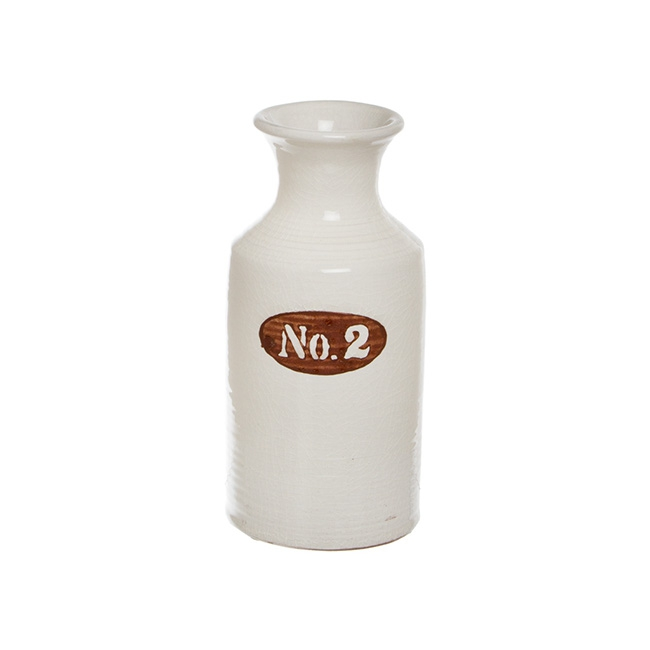 Ceramic Tall Number Cylinder Bottle White (12.5Dx25.5cmH)