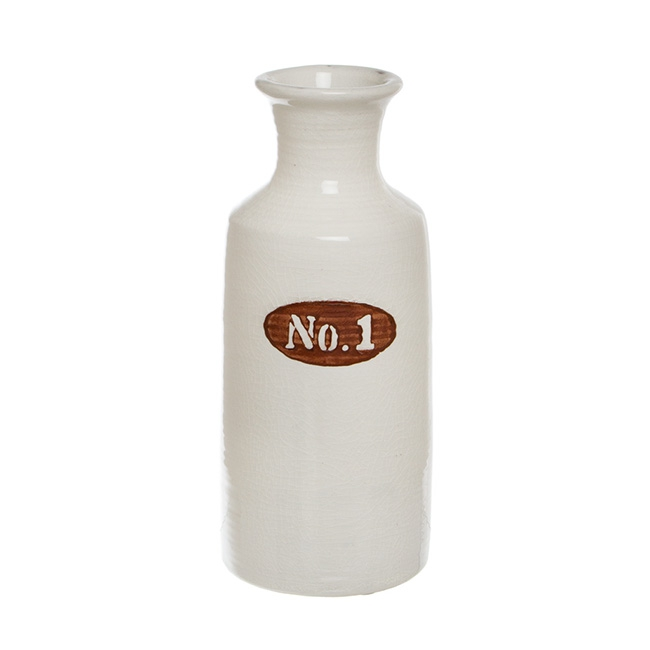 Ceramic Tall Number Cylinder Bottle White (12.5Dx30.5cmH)