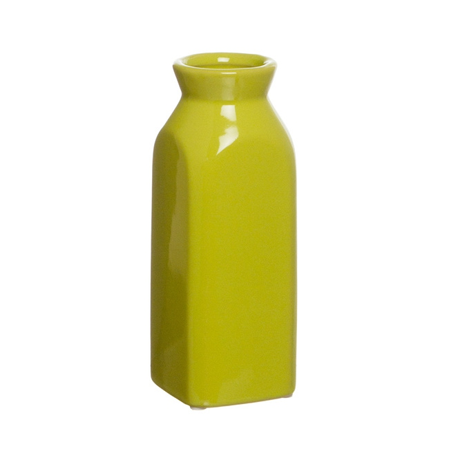 Ceramic Square Vase Bottle Green (7Dx19cmH)