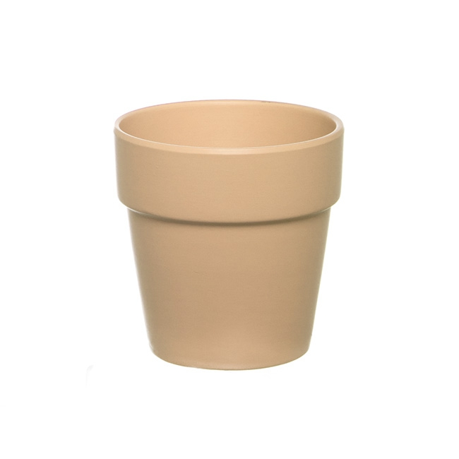 Ceramic Flower Pot Matte Beige (13cmDx13cmH)