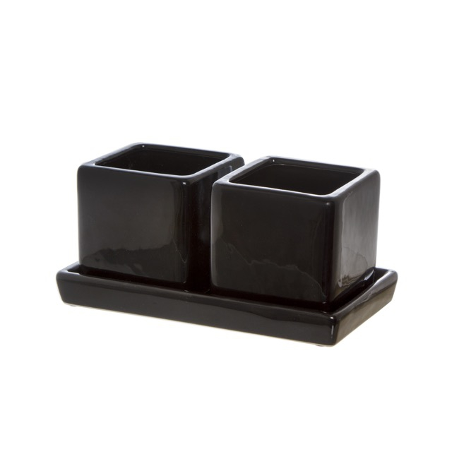 Ceramic Succulent Cube Set of 2 with Tray Black (17x9x9cmH)