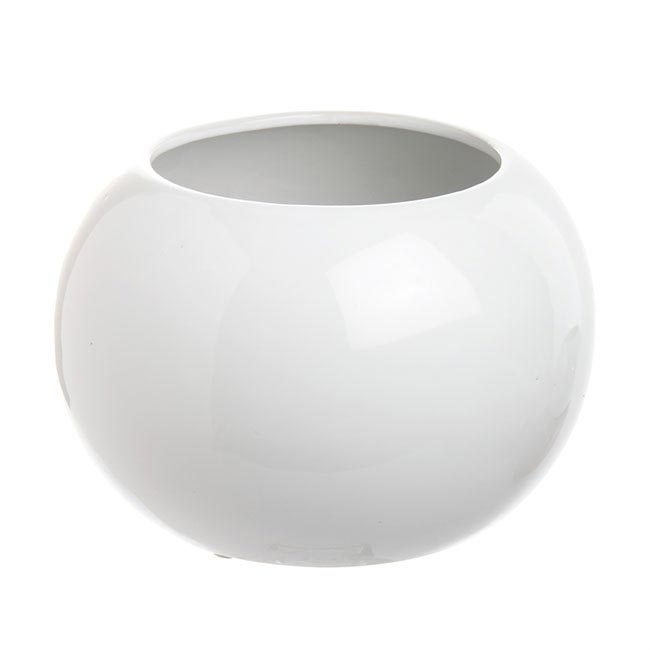 Ceramic Bondi Fish Bowl Large White (21Dx14cmH)