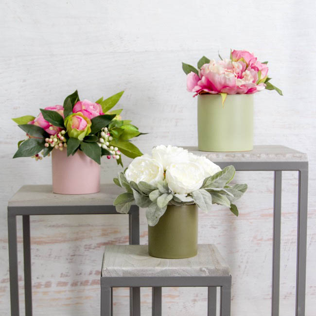 Satin Matte Collection - Ceramic Cylinder Pot Satin Matte Soft Pink (10.5x10.5cmH)