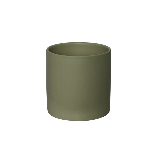 Satin Matte Collection - Ceramic Cylinder Pot Satin Matte Moss (14x14cmH)