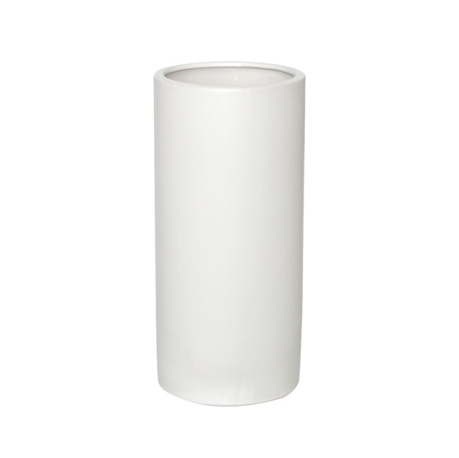Satin Matte Collection - Ceramic Cylinder Pot Satin Matte White (13x28cmH)