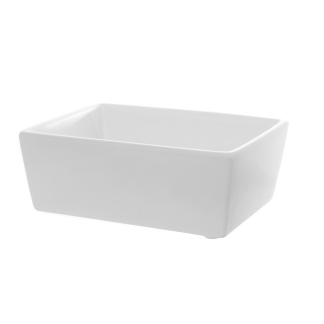 Ceramic Bondi Low Taper Rect Tray Mat White (22x15.5x8.5cmH)