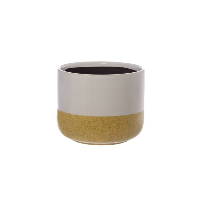 Ceramic Two Tone Cylinder Pot White & Beige (14.5x12cmH)