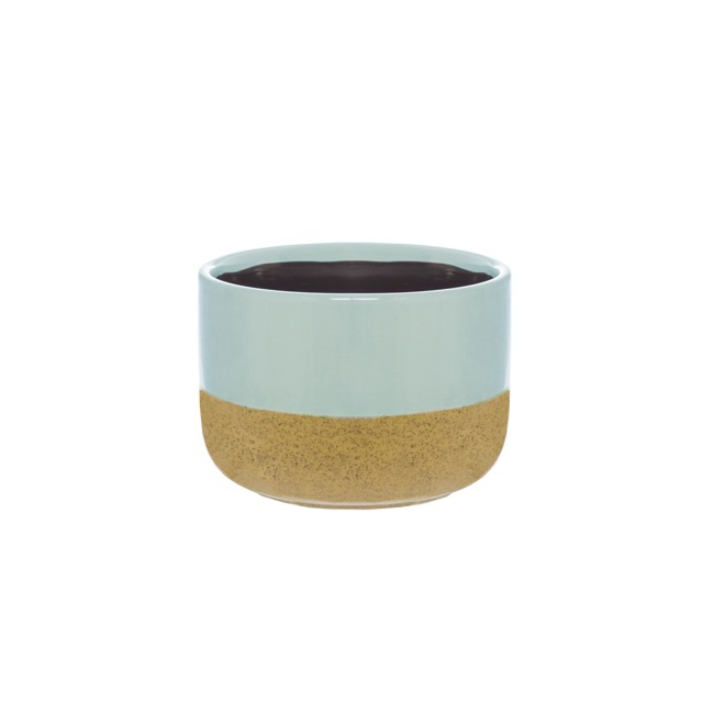 Ceramic Two Tone Cylinder Pot Aqua & Beige (12x8.5cmH)