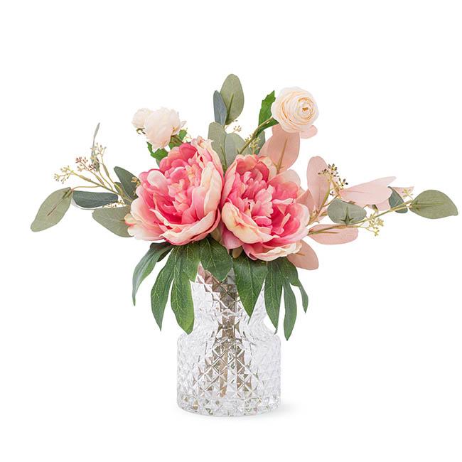 Artificial Peony Eucalyptus Vase Arrangement 35cmh Pink