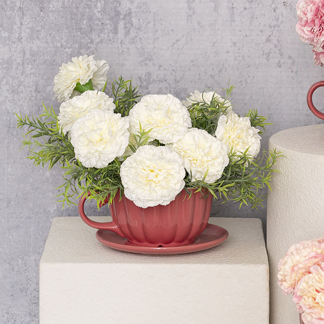 Artificial Carnation - Carnation Ruffle Stem White (42cmH)