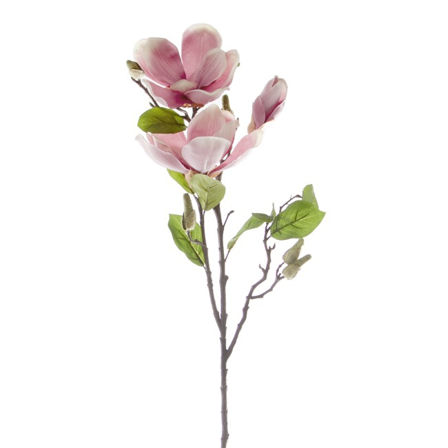 Artificial Magnolias - Magnolia Open Flower Spray x 2 Pink (71cmH)