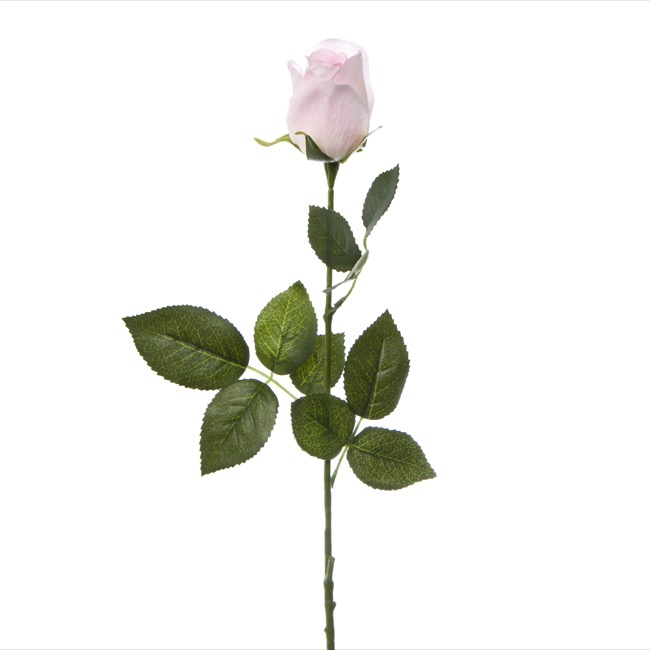 Artificial Roses - Siena Rose Bud Real Touch Light Pink (73cmH)