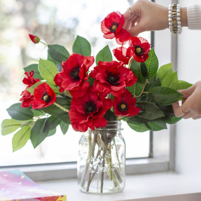 Other Artificial Flowers - Poppy Flower Stem with Black centre Red (60cmH)