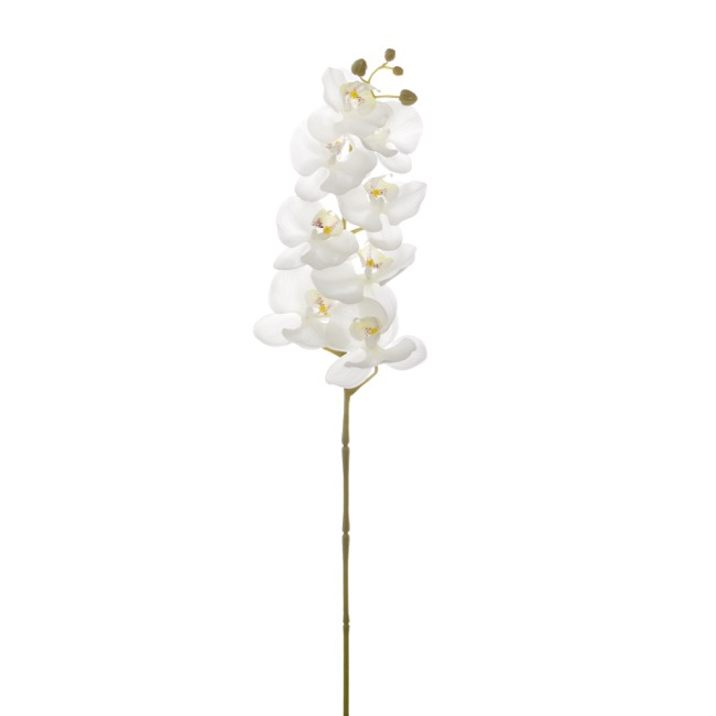 Artificial Orchids - Phalaenopsis Orchid Real Touch 8 flowers White (97cmH)