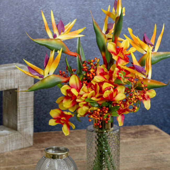 Artificial Orchid Bouquets - Cymbidium Orchid Bouquet Real Touch 6 Flowers Orange (25cmH)