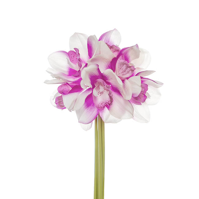 Artificial Orchid Bouquets - Cymbidium Orchid Bouquet Real 6 Flowers White Purple (25cm)