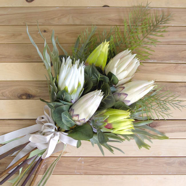 Australian & Native Flowers - Native Queen Protea Bud Cream Pink (62cmH)
