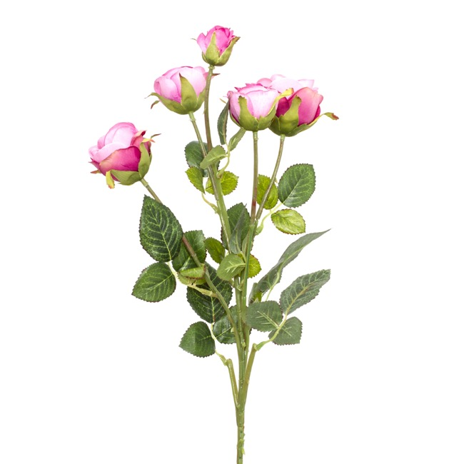 Artificial Roses - Tea Rose Spray 5 Heads Pink (65cm)