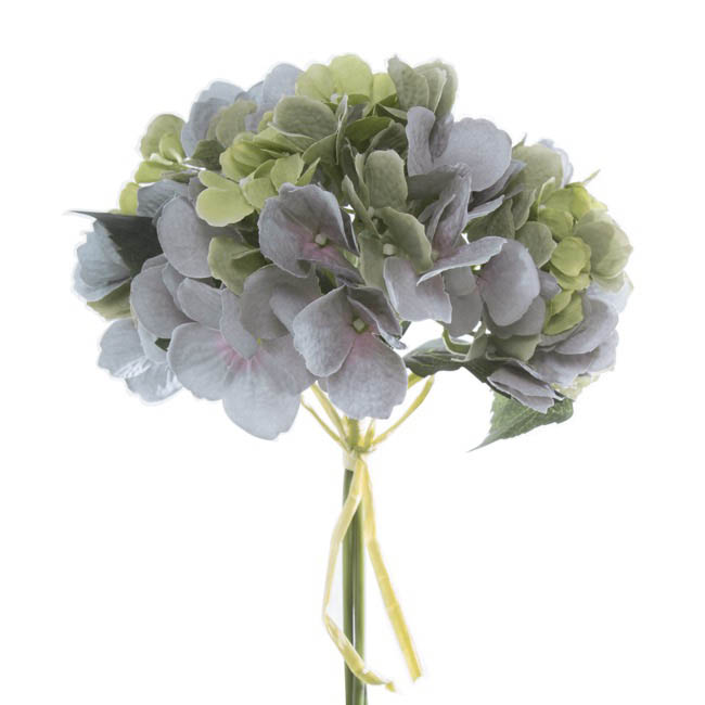 hydrangea victoria bouquet green blue 32cmh