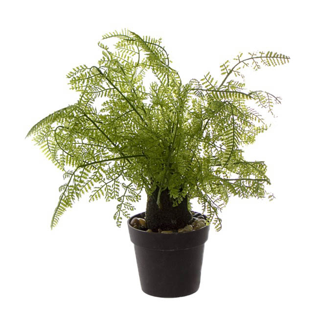 Artificial Plants - Artificial Leather Fern Plant R/ Touch Potted Green (29cmH)
