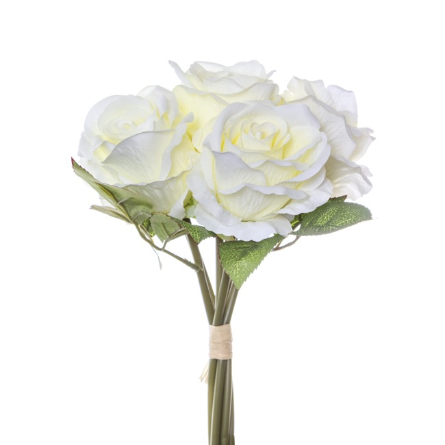 Open Rosita Rose Bouquet x6 Flowers Cream (28cmH)