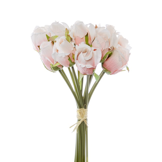 Artificial Rose Bouquets - Rosalie Rose Bud Bouquet x15 Flowers Light Pink (28cmH)