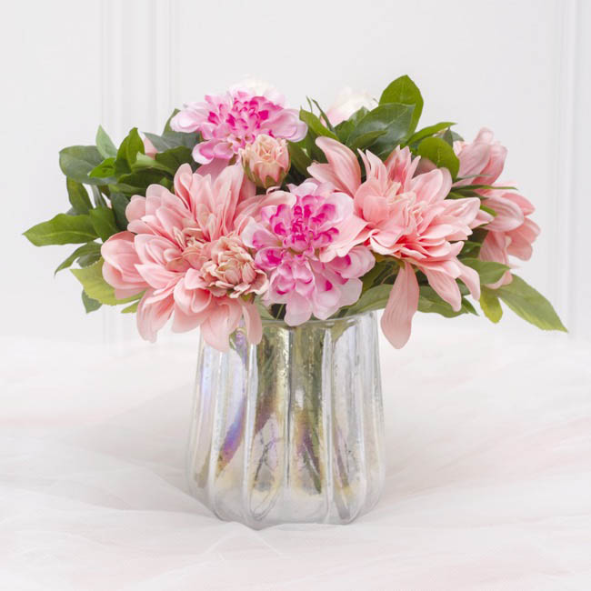 Other Artificial Bouquets - Dahlia & Cabbage Rose Bouquet Light Pink (28cmH)