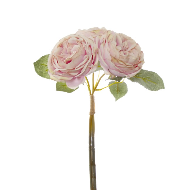 Artificial Rose Bouquets - English Garden Rose Bouquet Ice Pink (35cmH)