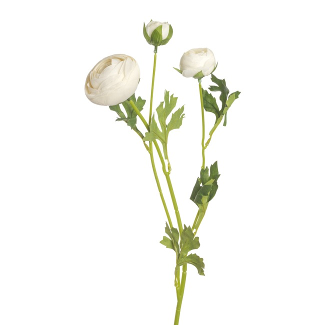 Other Artificial Flowers - Valentina Ranunculus Spray White (49cmH)