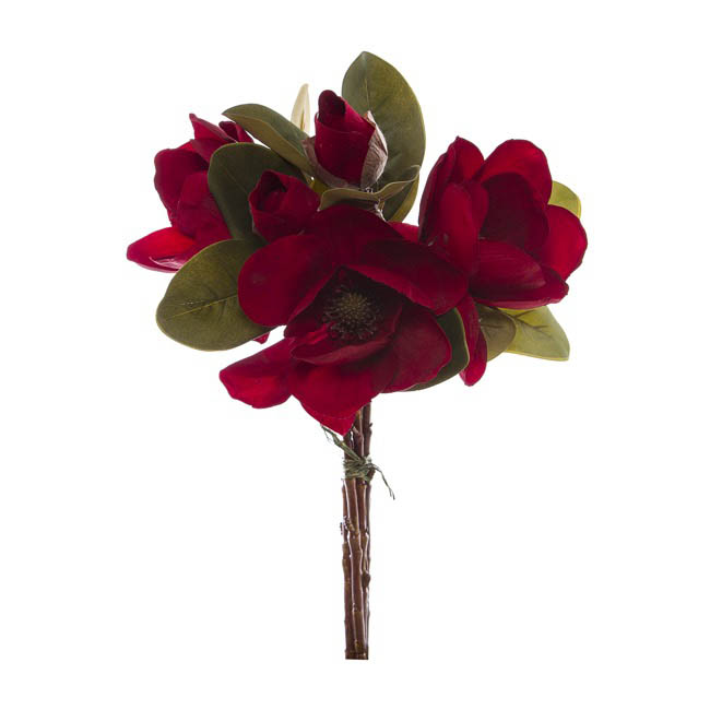 Magnolia Flower Bouquet with Buds Red (53cmH)