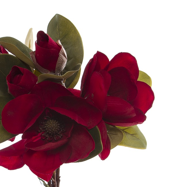 Other Artificial Bouquets - Magnolia Flower Bouquet with Buds Red (53cmH)