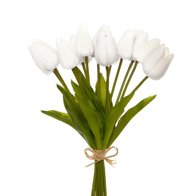 Tulip Mini Bouquet (12 Flowers 35cmST) Real Touch White