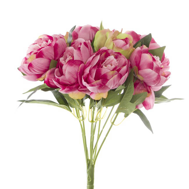 Artificial Rose Bouquets - Cabbage Rose Value Bunch Hot Pink (44cmH)