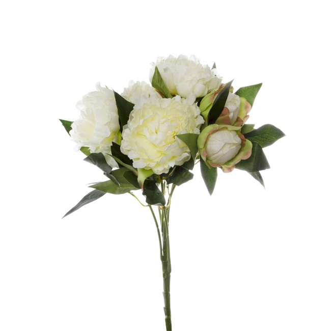 Artificial Peony Bouquets - Peony Value Bunch White (59cmH)