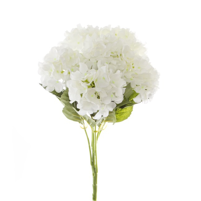 Artificial Hydrangea Bouquets - Hydrangea Value Bunch White (45cmH)