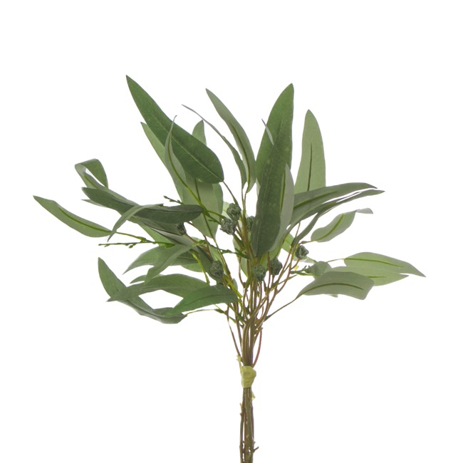 Artificial Leaves - Eucalyptus Willow Leaf Gumnut Bouquet Grey (44cmH)