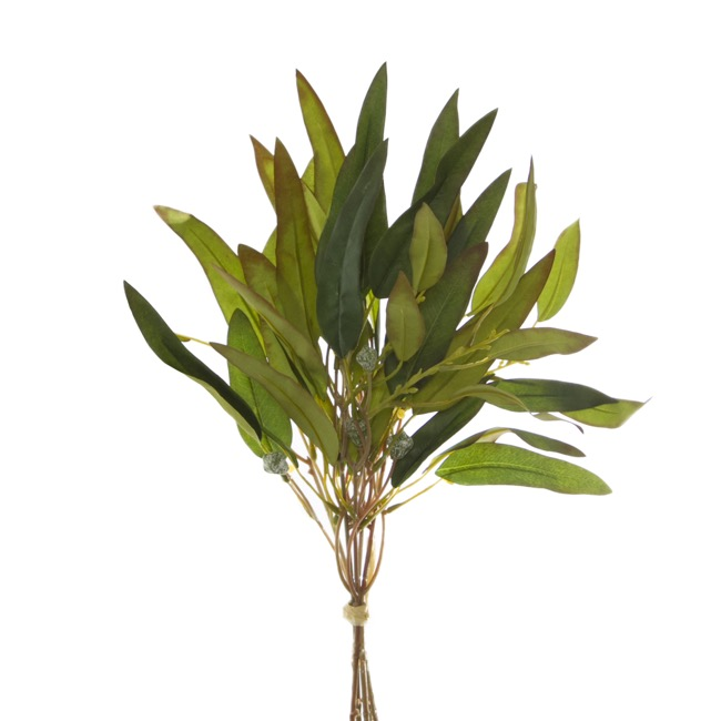 Artificial Leaves - Eucalyptus Willow Leaf Gumnut Bouquet Green Red (44cmH)