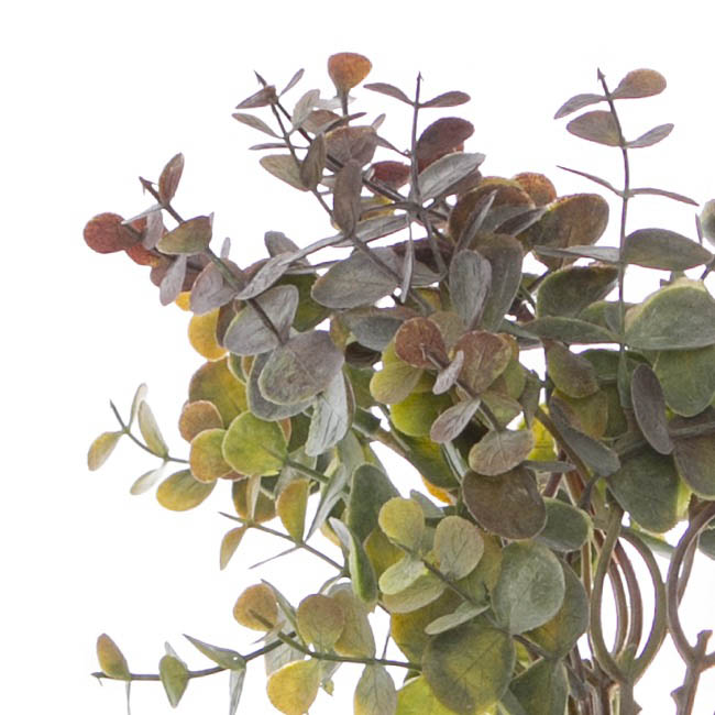 Artificial Leaves and Branches - Eucalyptus Mini Leaf Bouquet x6 Green Purple (34cmH)