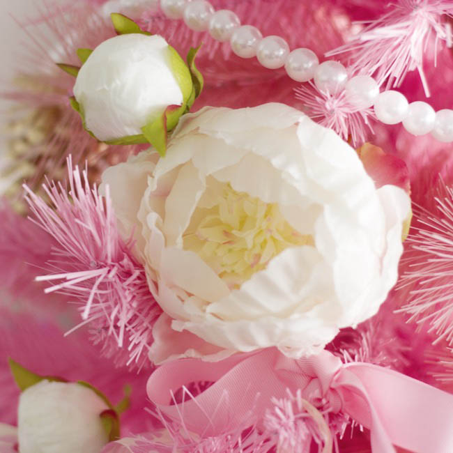 Artificial Peonies - Princess Peony Spray White Pink (79cmH)