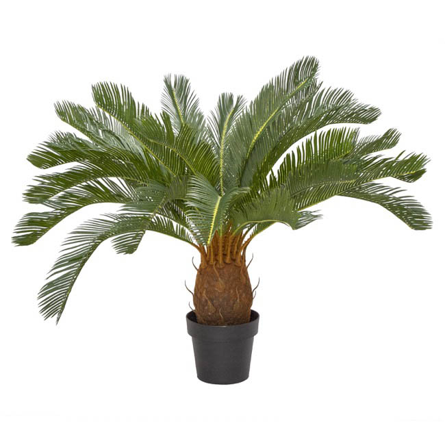 Artificial Plants - Artificial Cycas Palm Potted Green (93cm)