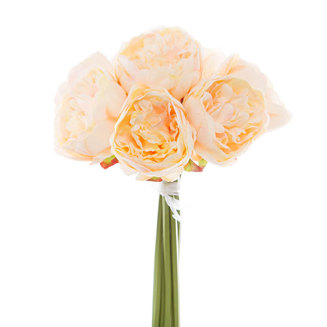 Artificial Peony Bouquets - Peony Bouquet Emily x8 Flowers Peach (34cmH)