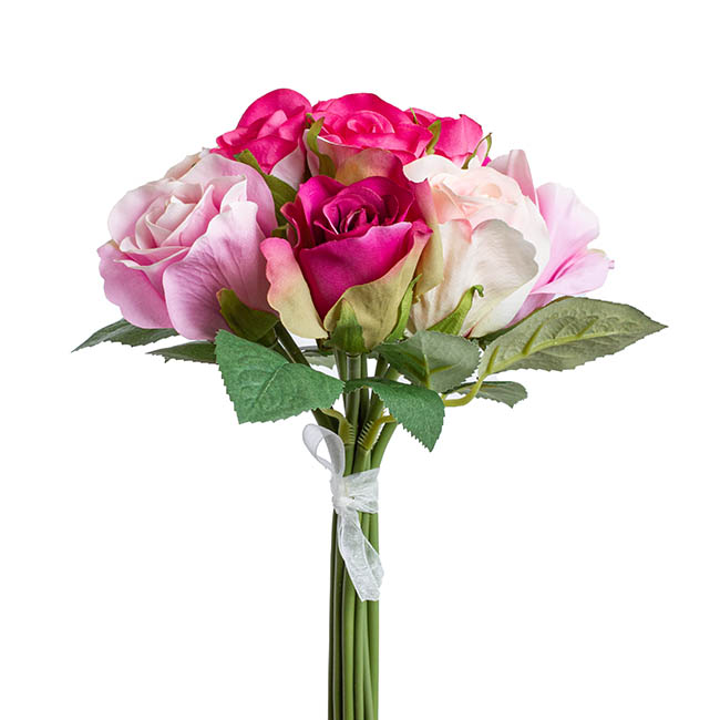 Artificial Rose Bouquets - Georgia Rose Bouquet with 12 Flowers Hot Pink Combo (25cmH)