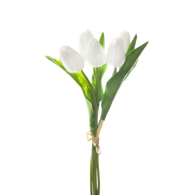 Other Artificial Bouquets - Rochelle Tulip Bouquet x 5 Flowers White (35cmH)