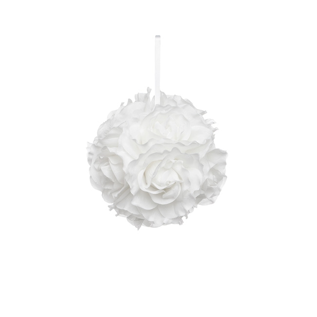 Rose Balls - Lavina Rose Ball White (6in/15cmD)