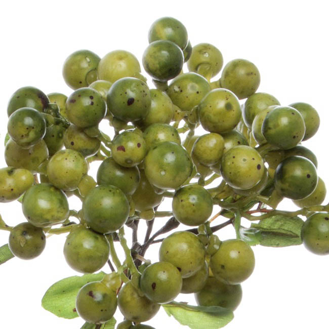 Artificial Berries and Fruits - Berry Cluster Spray Green (35cmH)