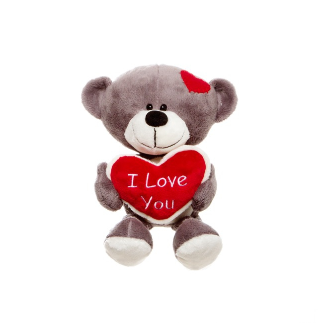 Tyler Teddy Bear with Heart Grey (16cmST)