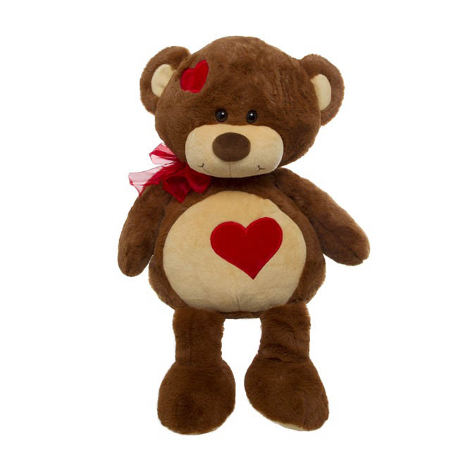 Molly Teddy Bear with Heart Patches Brown (37cmST)