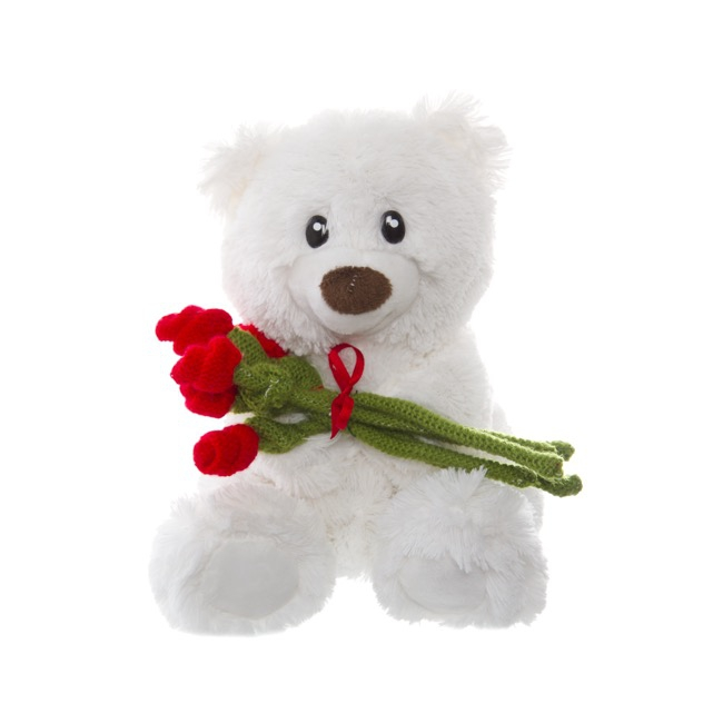 Rosie Teddy Bear with Bouquet White (20cmST)